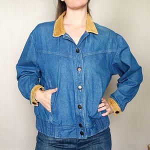 Vintage 80s Denim Jacket with Corduroy Trim